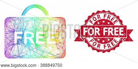 Rainbow Colored Wire Frame Free Case, And For Free Grunge Ribbon Stamp. Red Stamp Seal Includes For