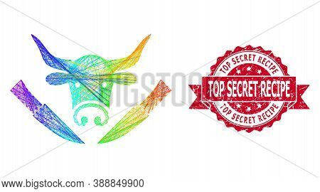 Rainbow Colored Network Cow Butchery, And Top Secret Recipe Scratched Ribbon Stamp Seal. Red Seal Co