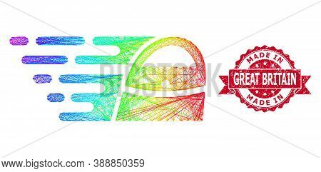 Rainbow Colored Network Shopping Bag, And Made In Great Britain Rubber Ribbon Stamp Seal. Red Stamp