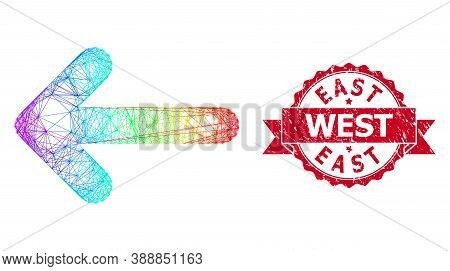 Rainbow Colored Net Left Arrow, And East West Textured Ribbon Watermark. Red Stamp Contains East Wes