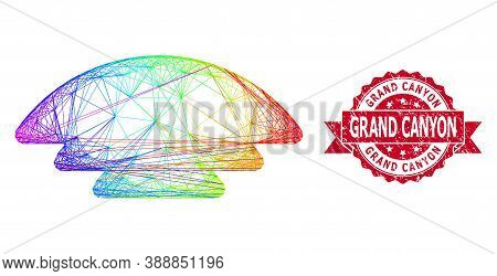 Rainbow Colorful Network Ice Hill, And Grand Canyon Dirty Ribbon Stamp. Red Stamp Has Grand Canyon T