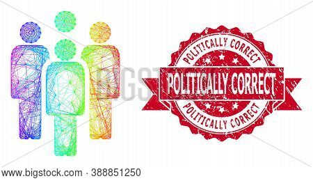 Bright Colored Wire Frame Staff, And Politically Correct Dirty Ribbon Stamp Seal. Red Stamp Seal Con