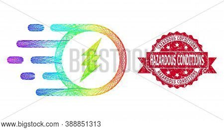 Rainbow Colored Net Electric Charge, And Hazardous Conditions Unclean Ribbon Stamp Seal. Red Stamp S