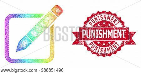 Bright Colored Network Edit Pencil, And Punishment Corroded Ribbon Seal Print. Red Stamp Seal Includ