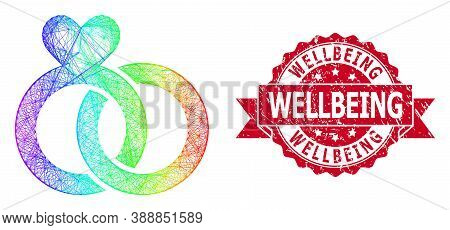 Rainbow Vibrant Network Wedding Rings, And Wellbeing Unclean Ribbon Seal Print. Red Seal Has Wellbei