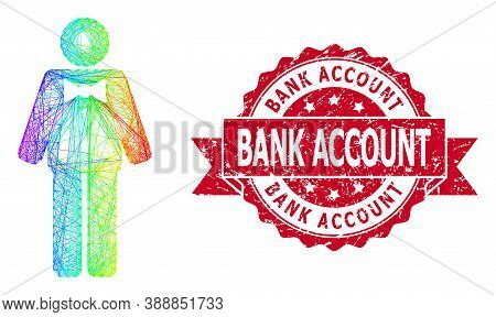 Rainbow Colorful Net Groom, And Bank Account Scratched Ribbon Stamp. Red Stamp Includes Bank Account