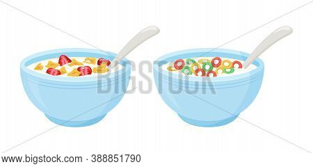 Cereal milk breakfast vector. Rolled oats bowl, colorful crisp, sweet flakes with strawberry. Healthy food illustration