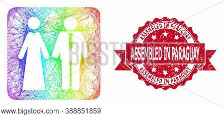 Rainbow Colorful Network Newlyweds, And Assembled In Paraguay Scratched Ribbon Seal Imitation. Red S