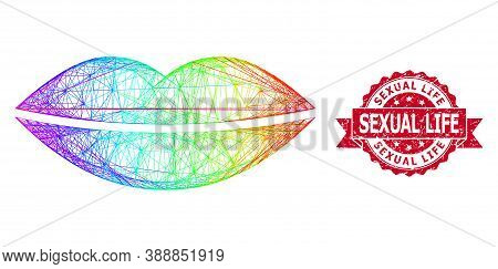 Spectrum Colorful Wire Frame Smile Lips, And Sexual Life Scratched Ribbon Seal. Red Stamp Seal Inclu