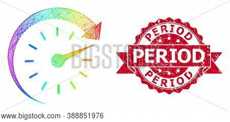 Bright Vibrant Wire Frame Time Forward, And Period Rubber Ribbon Stamp Seal. Red Stamp Seal Includes