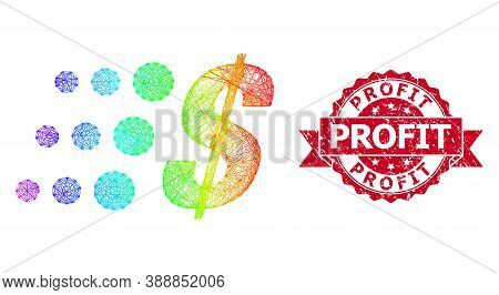 Bright Colored Network Fast Dollar, And Profit Unclean Ribbon Seal Imitation. Red Seal Contains Prof
