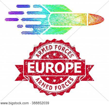 Spectrum Vibrant Net Missile, And Armed Forces Europe Scratched Ribbon Seal. Red Stamp Seal Contains