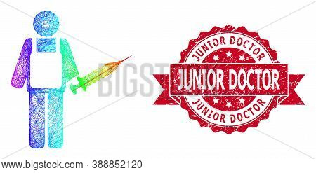 Rainbow Colorful Wire Frame Vaccination Medic, And Junior Doctor Corroded Ribbon Seal Print. Red Sta