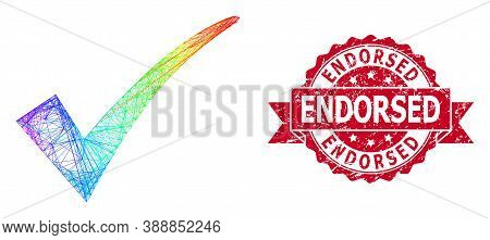 Spectrum Colorful Net Confirm Tick, And Endorsed Dirty Ribbon Stamp Seal. Red Stamp Seal Contains En