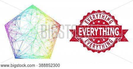 Spectrum Vibrant Network Filled Pentagon, And Everything Textured Ribbon Stamp Seal. Red Stamp Seal