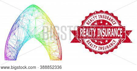 Spectrum Colored Wire Frame Igloo Home, And Realty Insurance Scratched Ribbon Seal. Red Stamp Seal I