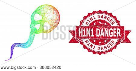Rainbow Colorful Wire Frame Dead Sperm, And H1n1 Danger Textured Ribbon Seal Imitation. Red Stamp In