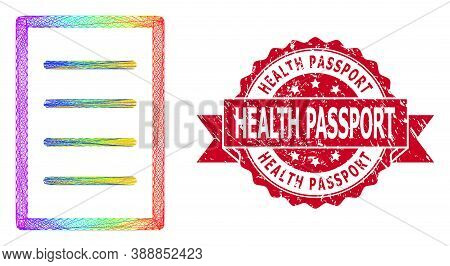 Rainbow Colorful Wire Frame Text Page, And Health Passport Textured Ribbon Seal Imitation. Red Seal