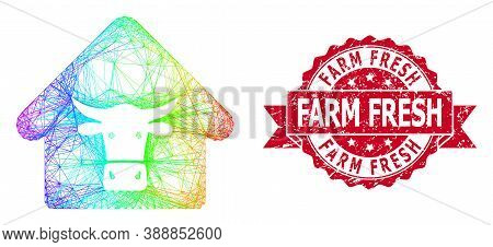 Rainbow Vibrant Network Cow Farm, And Farm Fresh Rubber Ribbon Stamp. Red Stamp Seal Contains Farm F