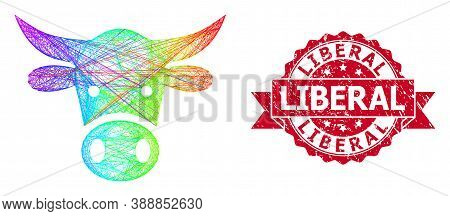 Rainbow Colored Network Cow Head, And Liberal Unclean Ribbon Seal. Red Seal Has Liberal Tag Inside R