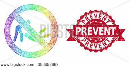 Spectrum Colored Net Forbidden Judo Struggle, And Prevent Unclean Ribbon Stamp Seal. Red Stamp Conta