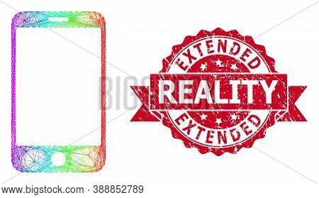 Spectrum Colored Net Smartphone, And Extended Reality Dirty Ribbon Stamp. Red Stamp Seal Includes Ex