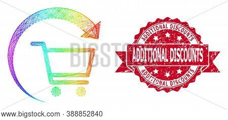 Rainbow Colored Wire Frame Repeat Purchase Order, And Additional Discounts Scratched Ribbon Stamp. R