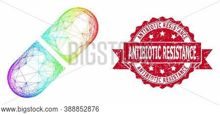 Rainbow Vibrant Wire Frame Medication Pill, And Antibiotic Resistance Unclean Ribbon Seal Imitation.