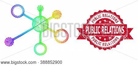 Spectrum Colorful Wire Frame Relations, And Public Relations Grunge Ribbon Seal Print. Red Stamp Sea