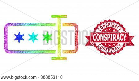 Bright Colorful Wire Frame Password Field, And Conspiracy Unclean Ribbon Seal. Red Stamp Seal Contai