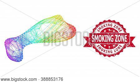 Rainbow Colored Wire Frame Spot, And Smoking Zone Grunge Ribbon Seal Print. Red Seal Has Smoking Zon