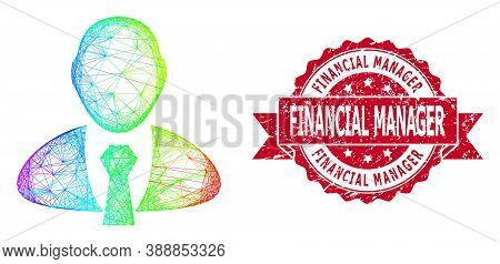 Rainbow Vibrant Net Manager, And Financial Manager Rubber Ribbon Seal Imitation. Red Stamp Seal Cont