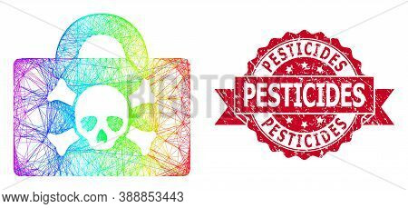 Bright Colorful Wire Frame Mortal Case, And Pesticides Grunge Ribbon Stamp Seal. Red Stamp Contains