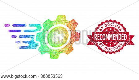 Rainbow Colored Wire Frame Gear, And By Doctors Recommended Rubber Ribbon Seal. Red Stamp Seal Has B