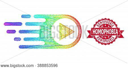 Rainbow Colorful Net Rush Right, And Homophobia Dirty Ribbon Stamp Seal. Red Stamp Seal Includes Hom