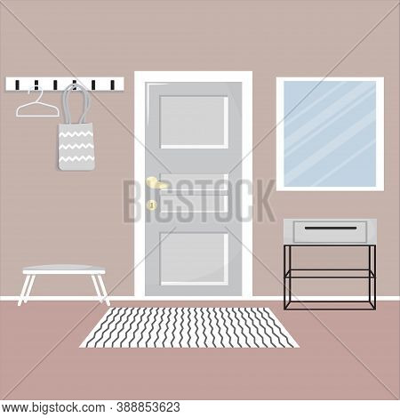 Hall Interior With Doors, Shelves, Mirror. Elegant, Stylish And Modern Resident. Building Inside. .