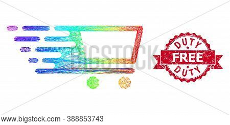 Spectrum Vibrant Network Shopping Cart, And Duty Free Corroded Ribbon Stamp. Red Stamp Contains Duty