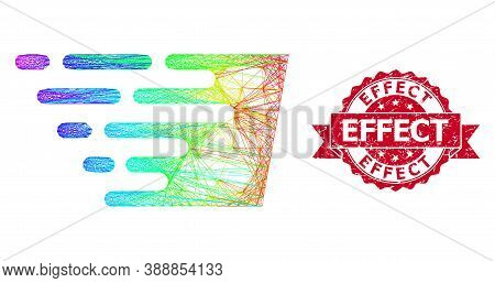Rainbow Colorful Wire Frame Fast Effect, And Effect Grunge Ribbon Seal Imitation. Red Seal Has Effec