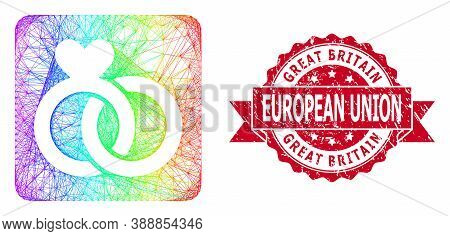 Spectrum Vibrant Wire Frame Wedding Rings, And Great Britain European Union Dirty Ribbon Stamp. Red