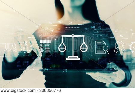 Legal Advice Service Concept With Businesswoman On A City Background