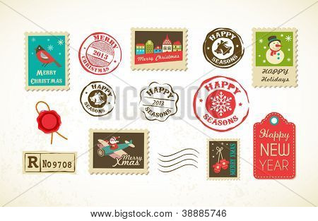 Christmas collection with vintage postage stamps