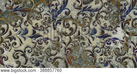 Digital Tiles Design.  3d Rendering. Colorful Ceramic Wall And Floor Tiles Decoration. Abstract Dama