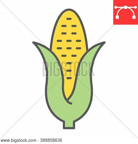 Corn Color Line Icon, Thanksgiving And Sweetcorn, Maize Sign Vector Graphics, Editable Stroke Filled