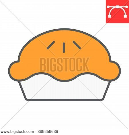 Pie Color Line Icon, Thanksgiving And Bakery, Pumpkin Pie Sign Vector Graphics, Editable Stroke Fill