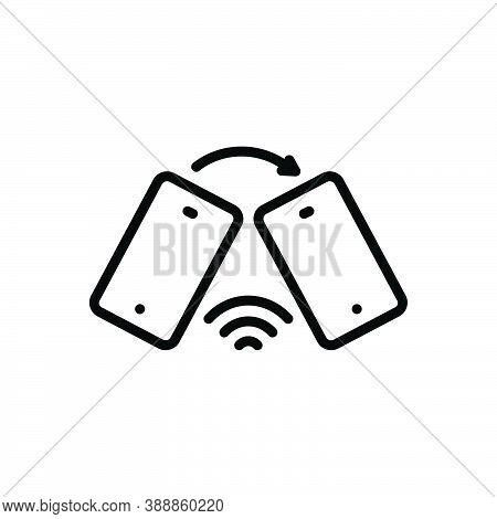 Black Line Icon For Discourse Recitation Communication Conversation Phone Transfer Wifi
