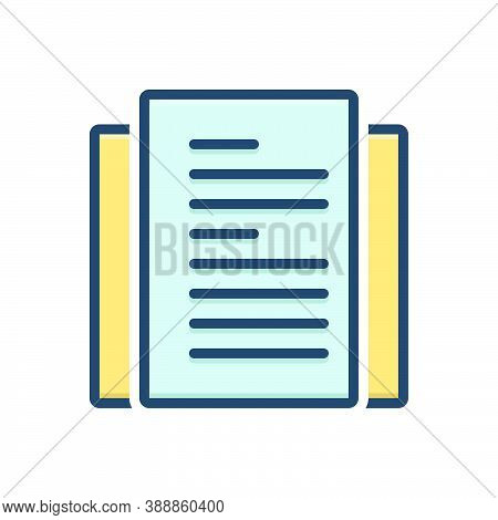Color Illustration Icon For Narrative Tale Story Document Concept Message Information