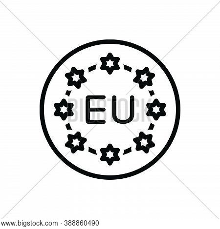 Black Line Icon For European Union Community Flag Banner Continent Country Currency Nation  Democrac