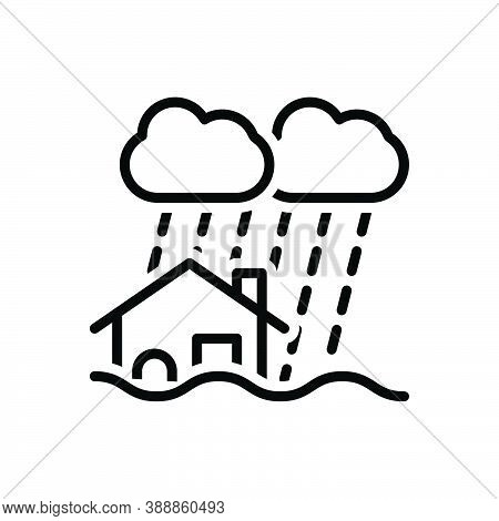 Black Line Icon For Disaster Calamity Adversity Catastrophe Flood Hurricane Earthquake Water-damage
