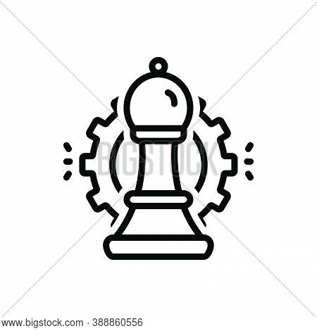 Black Line Icon For Strategic Tactical Strategical Bishop Intelligence Corporate Chessboard Challeng