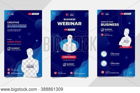 Collection Of Social Media Stories Post Templates. Vector Graphic Of Aquatic Background With Blue Co
